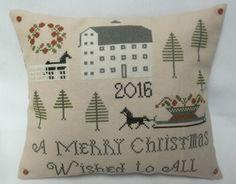 Farm Christmas Pillow Cross Stitch Horse by luvinstitchin4u