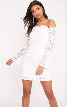 White Bardot Lace Swing DressThis season is all about ultra-luxe and feminine lace. Featuring on ...