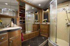 Newmar Essex Diesel Pusher Luxury Motorhome Interior - Master Bathroom #hauterv #roadzies #luxury