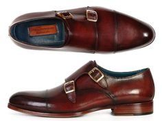 DESCRIPTION: - Double monkstrap handmade shoes for men. Dark brown hand-painted…