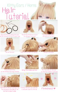 RinnieRiot: Hair Kitty Ears / Hair Horns Tutorial