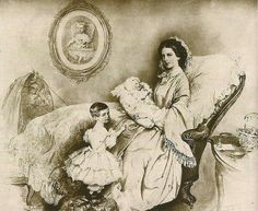Rudolf as a baby in the arms of his mother Elisabeth and his older sister Gisela standing next to them