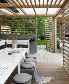 60 attached pergola design and features for your dream home 10 Backyard Pergola, Pergola Shade, Backyard Landscaping, Landscaping Ideas, Pergola Designs, Patio Design, Garden Design, Outdoor Rooms, Outdoor Living