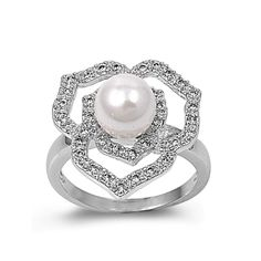 925 Sterling Silver CZ Adonis Flower Cultured Pearl Ring 16MM