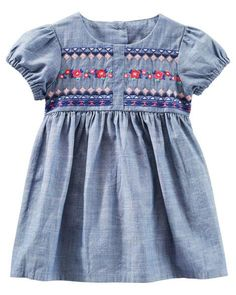 2-Piece Embroidered Chambray Dress   Carters.com