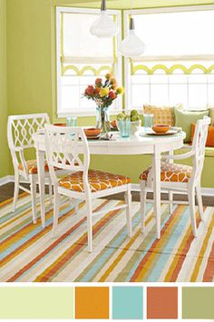 Nice refreshing citrus color palette!  Thinking it's a great combo for an open kitchen to family room floor plan!