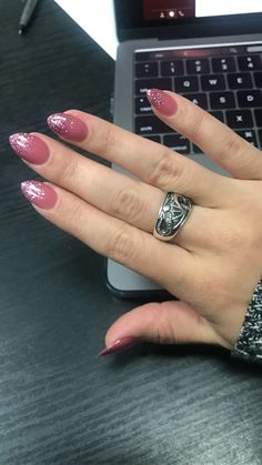 Ombré nails pink on pink glitter. Mauve. Glitter. Coffin. Almond. Powder dip. Real nails. Done by Jessica at Beauty Zone in Houston.