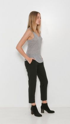 Zadig & Voltaire Dean Scoop Neck Ribbed Tank in Gris Chine | The Dreslyn