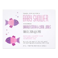 It's a Girl - Pink Fish Baby Shower Invitation - girl gifts special unique diy gift idea