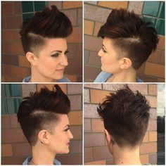 Get styling advice for this Brunette Undercut Faux Hawk Pixie with Burgundy Highlights and find other fun short hairstyles at Hairstyleology.com