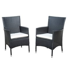 Outsunny 2-piece Dark Coffee Rattan Wicker Outdoor Dining Arm Chairs - Free Shipping Today - Overstock.com - 19345081 - Mobile