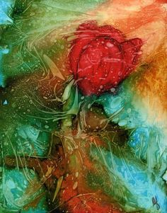 Original Alcohol Ink painting- 8x10 yupo with white 11x14 mat. Abstract Tulip- Flower. BEAUTIFUL!!