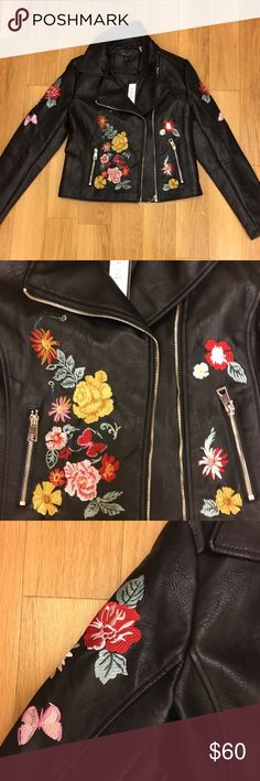 Rose Embroidered Black Leather Jacket NWT NWT. BRAND NEW IN PERFECT CONDITION. PERFECT FOR THE UPCOMING SEASON. VERY TRENDY. Romeo & Juliet Couture Jackets & Coats