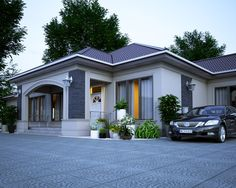 Casa mea My House Plans, Luxury House Plans, Modern House Plans, Modern Bungalow House, Bungalow House Plans, Flat House Design, Modern House Design, Architectural Design House Plans, Architecture Design