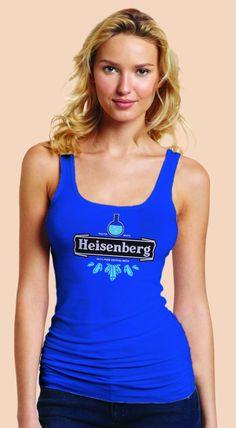 Breaking Bad Heineken Logo Parody Spoof t-shirt: Heisenberg Logo on True Royal Colored Womens Fitted Sheer Ribbed Tank Top Ladies Tshirt for Girls
