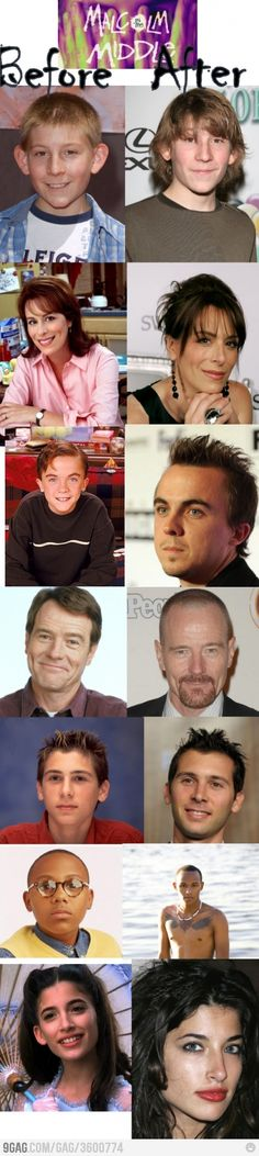 True story--I met the kid at the top in an art museum. Malcolm in the Middle - the actors then and now
