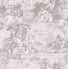 Albany Elegant Toile Grey Wallpaper main image