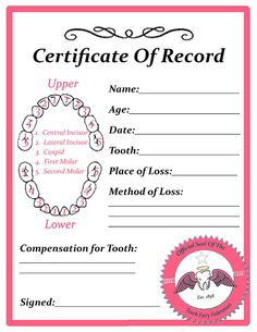 "tooth fairy ""certificate of record"""