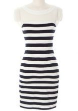 Black White Striped Contrast White Chiffon Bodycon Dress