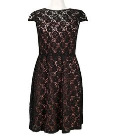 Loving this Black & Pink Lace-Overlay A-Line Dress on #zulily! #zulilyfinds