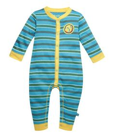 Take a look at this Summer Turquoise Baseball Stripe Playsuit - Infant by Life is good® on #zulily today!