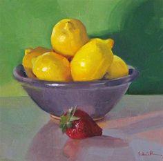 """Purple Bowl of Lemons daily painting still life fruit kitchen art yellow green"" - Original Fine Art for Sale - © Sarah Sedwick"