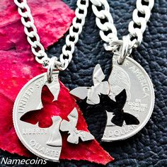 Butterfly Necklace Interlocking Relationship Jewelry by NameCoins, $29.99  interesting take on best friend necklaces