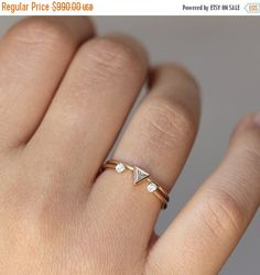 ON SALE 0.11 Carat Trillion Wedding Set with a Dual Diamond Ring - 14k Solid Gold