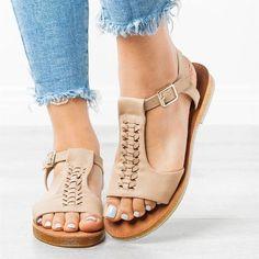 2b4575b42a02 Buckle Wedge Heel Open Toe Western Plain Sandals in 2019