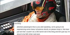 Star Wars: The Force Awakens text post. This is exactly what Poe would do!