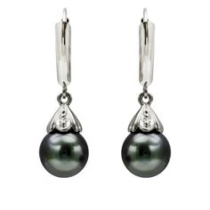 14k White Gold Diamond Illusion 9-10mm Round Black South Sea Tahitian Pearl High Luster Leverback Earring $349.99