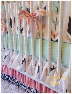 Baby girl woodland crib bedding.  Mint amd pink arrows, fawns.