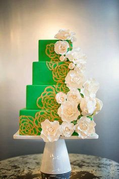 Pretty Bright Green & Gold Floral Wedding Cake Picture