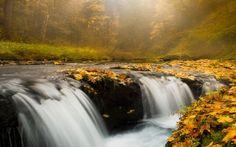 トリプル滝、オレゴン州 カスケード 自然 高解像度で壁紙