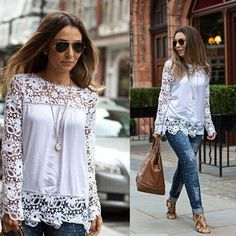 XYFS318 Plus Size New 2015  Lace Blouse Flower Hollow Chiffon  Shirt Women Long Sleeve Autumn Casual Blusas