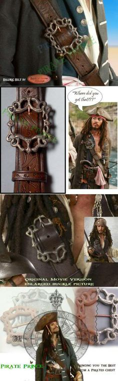 """Screen accurate, high quality,  Captain Jack Sparrow Baldric Buckle! Made with led free pewter and chemically aged to make it look old. Will take 2"""" wide leather belt."""