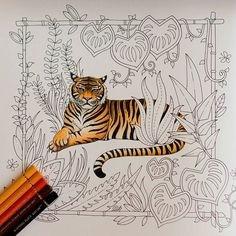 The tiger is done #magicaljungle #johannabasford #coloring #coloringbook…