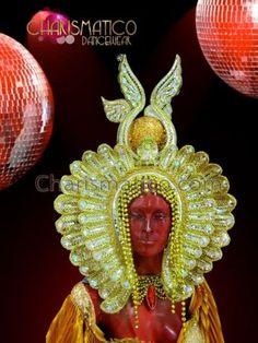 Elegant-beaded-golden-pharaoh-headdress-with-mirrors-and-iridescent-crystals