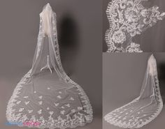 Custom Length Handmade Lac Appliques White Wedding Veil-Elegant Real Samples 3 M Lac Appliques White Wedding Veil 8060
