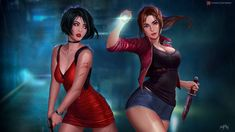 Ada Wong and Claire Redfield 'Resident Evil by Prywinko Tyrant Resident Evil, Resident Evil Girl, Ada Wong, Chica Fantasy, Fantasy Art, Fantasy Fiction, Fantasy Women, Marvel Dc, Gif Terror