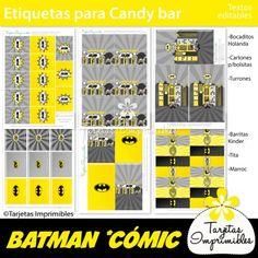 Batman kit de decoraciones de fiesta imprimibles. Banderines, etiquetas para candy bar, cajitas, tarjetas de invitación para cumpleaños y mucho más! #batman #imprimiblesbatman #batmanprintables #batmanpartyideas #cumpleaños batman #batmanparty #cumpleañosbatman #superheroes #superheroesbatman