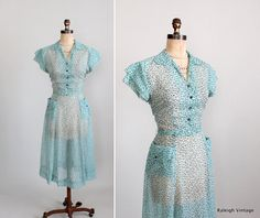 Vintage 1950s Dress  Early 50s Sheer Shirtwaist by RaleighVintage, $78.00