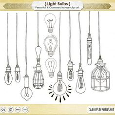LightBulb ClipArt, Line Art and Silhouettes. Vintage Edison Bulbs, String lights and so much more! Light Bulb Details: • 46 PNG Clip Art Illustrations including Silhouettes + Line Art + Bulbs on Strings • 1 .ABR Photoshop Brush • 300 dpi • High Quality IMPORTANT - Please make sure