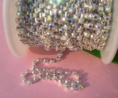 Clear AB Crystal Rhinestone Close Chain Trims Silver 1 Roll SS12 - 3mm
