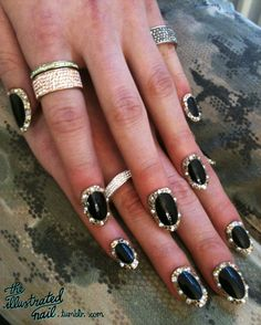I'm not one for crazy nails but I would rock this look & the diamond bands for a fun night out!  |The Illustrated Nail