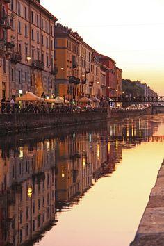 Naviglio Grande, Milano / Warm evening by Steewood.deviantart.com on @deviantART