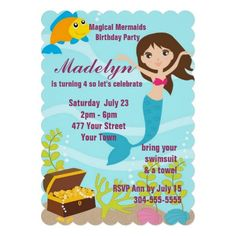 Magical Mermaids Pool Party Invitations