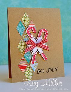 My Joyful Moments blog- Merry Monday Featured Designer using Harlequin cover plate and Candy cane stamps from Papertrey Ink. Sentiment is from Paper Smooches.