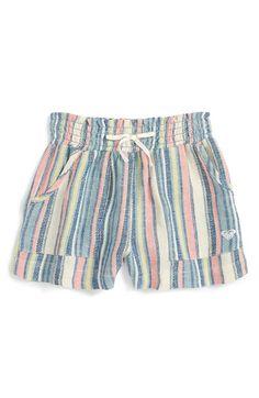 Roxy 'Panama' Stripe Woven Shorts (Big Girls)