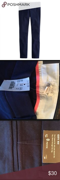"J.Crew Winnie Pant (Navy, Size 0) PRODUCT DETAILS Cotton/spandex. Sits just below waist. Fitted through hip and thigh, with a skinny, ankle-length leg. 26"" inseam. Side zip. Nonfunctional back pockets. Dry clean. Import. J. Crew Pants"